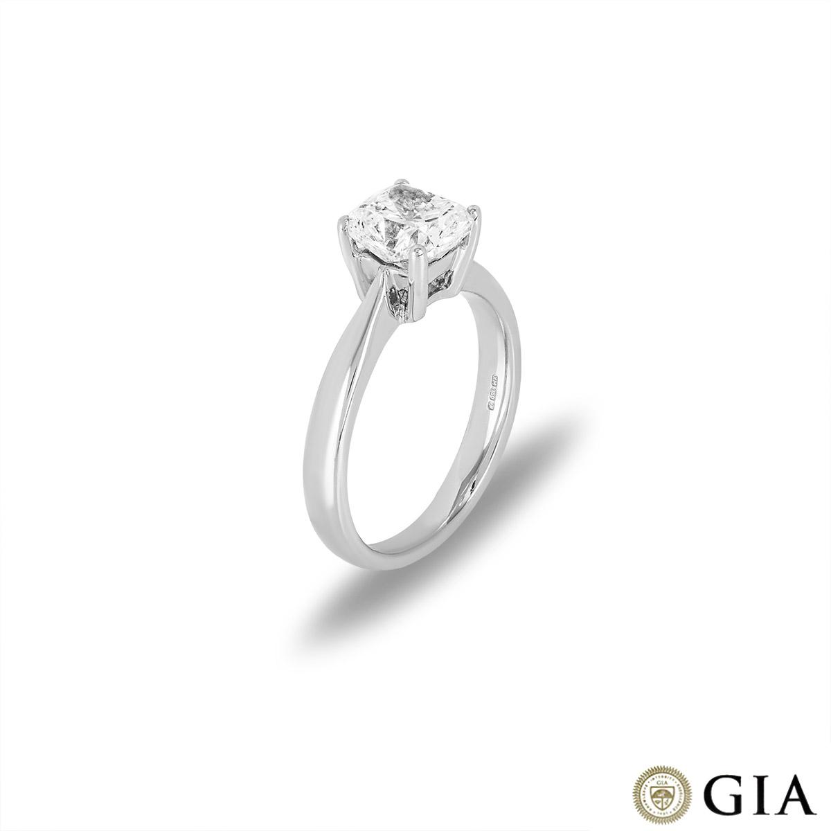 18k White Gold Cushion Cut Diamond Ring 1.66ct I/VS1